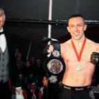 Hillingdon Times: Richard Buskin after winning the lightweight UFW champion belt