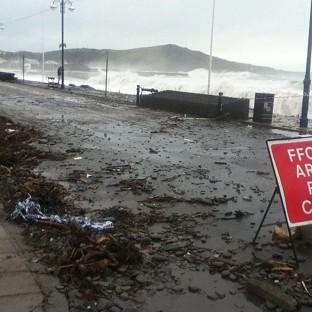 The seafront at Aberystwyth, Ceredigion, has been battered by the element