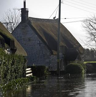 Properties near the village of Muchelney, Somerset, where residents have been relying on volu