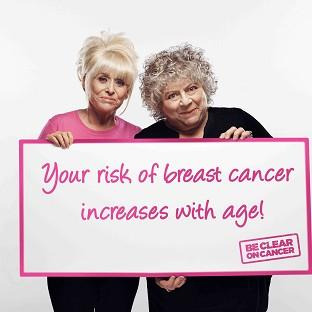 Actresses Barbara Windsor and Miriam Margoyles are supporting a new Be Clear on Cancer campaign (Public Health England)