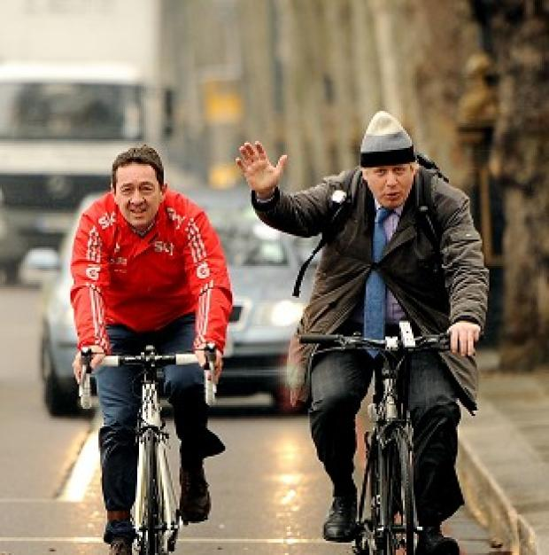 Hillingdon Times: Britain needs to embrace cycling says Chris Boardman, pictured with the mayor of London Boris Johnson