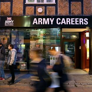 The Army Careers office in Canterbury, Kent, one of the armed forces re