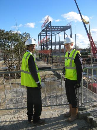 On site: pupils Kevin Jegatheeswaran, left, and Ryan O'Sullivan