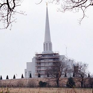 The northern temple of the Church of Jesus Christ of Latter-Day Saints near Preston, seen here under construction in 2001