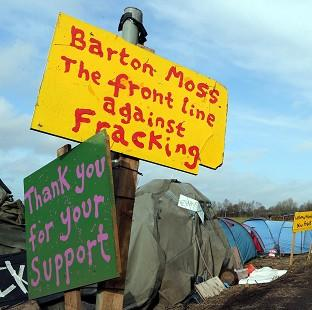 Hillingdon Times: Protest signs at Barton Moss, Greater Manchester