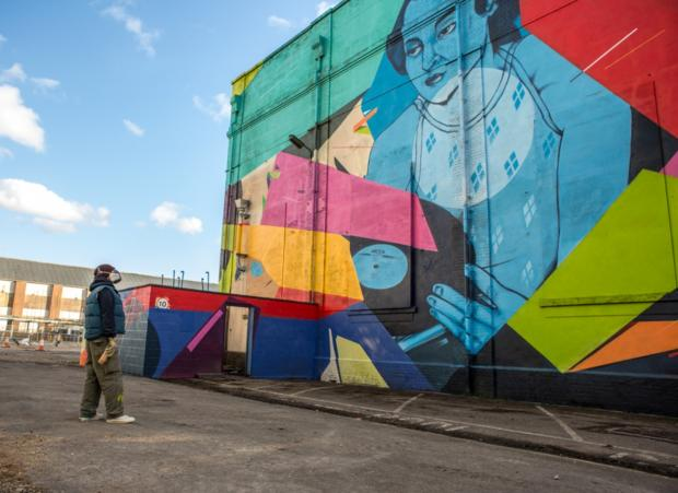 Hillingdon Times: Colour clash: the distinctive wall of the old EMI building