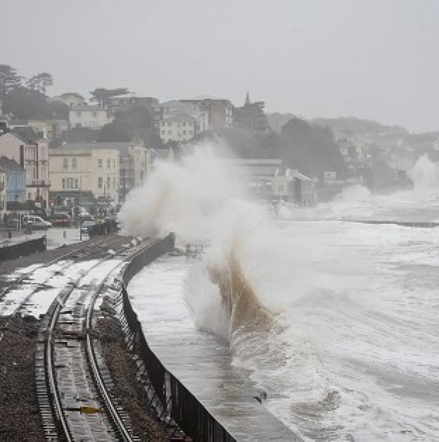 Hillingdon Times: Damage to the railway in Dawlish, Devon, reduced train punctuality
