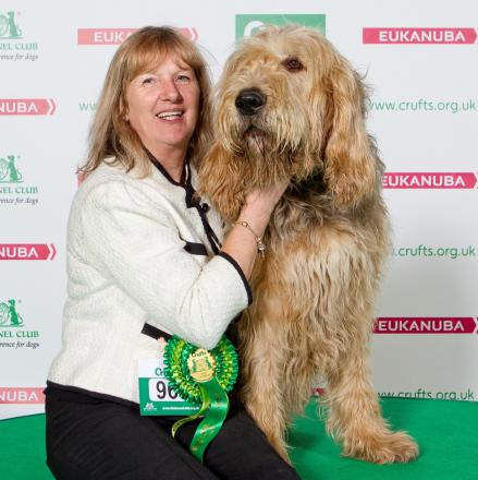 Top dog: Hugo the otterhound with his owner, Rae Ganna