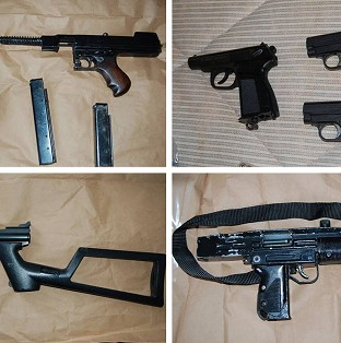 Some of the arms that have been seized by an anti-gang squad in one of Scotland Yard's biggest gun hauls