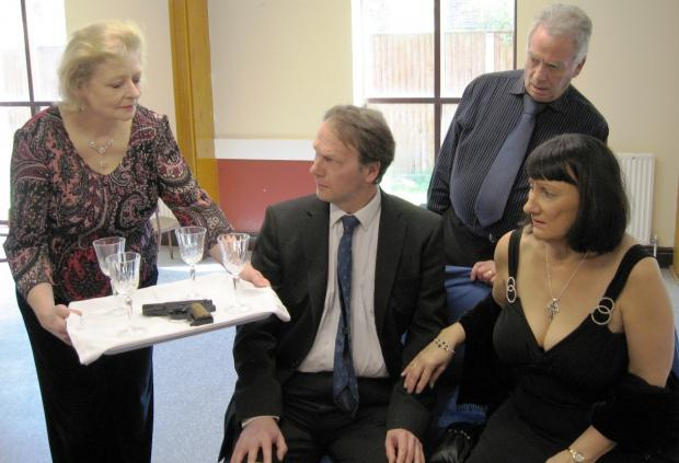 Hillingdon Times: Can I interest you in a shot? Frances Bright as Chris Bevans, Martin Sawyer as Len Cummings, Peter Iggulden a