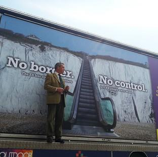 Hillingdon Times: Ukip leader Nigel Farage launches the party's billboard campaign for the Euro-elections in Dover