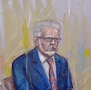 Hillingdon Times: Court artist sketch by Elizabeth Cook of Rolf Harris who appeared at Southwark Crown Court where he pleaded not guilty to 12 charges dating back to the late 1960s
