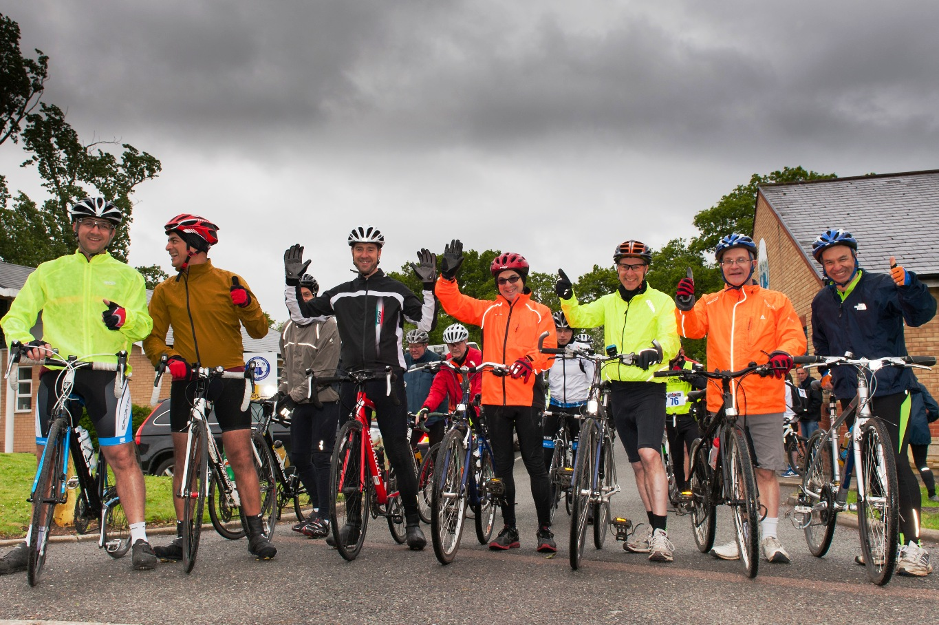Saddle up: cyclists prepare to set off from Northwood