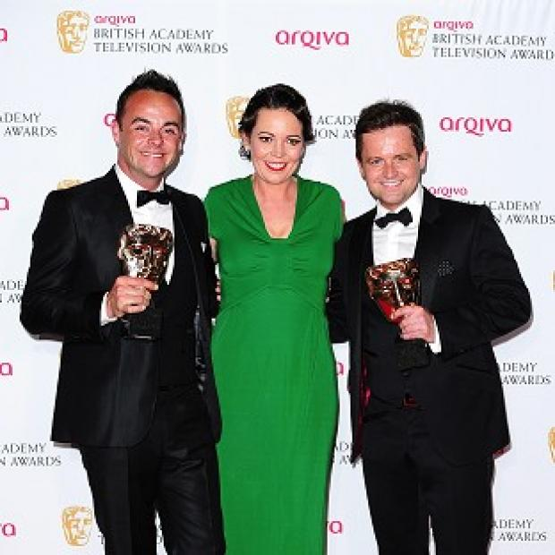 Hillingdon Times: Bafta winners Anthony McPartlin and Declan Donnelly with actress Olivia Colman