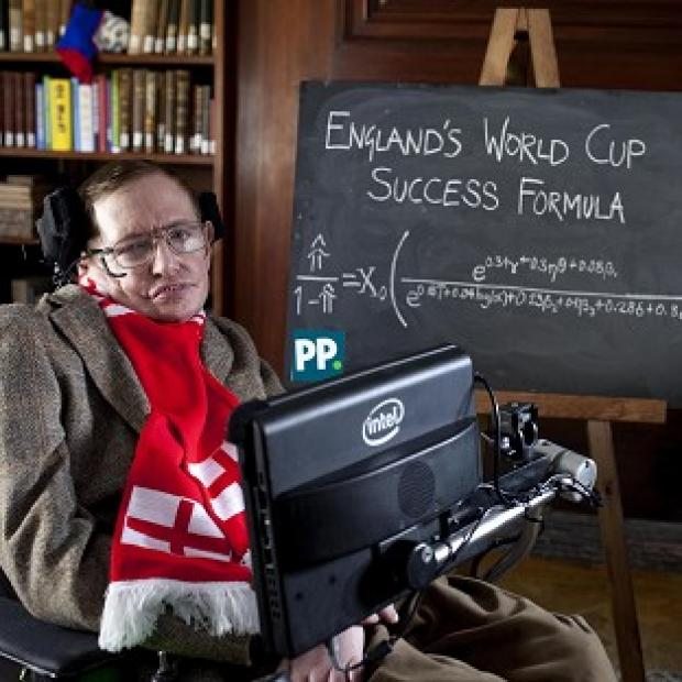 Hillingdon Times: Professor Stephen Hawking unveils a new scientific formula to predict the chances of England succeeding in the World Cup, in Cambridge.