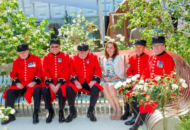Red light; Chelsea pensioners give their approval to Jo Thompson and her garden