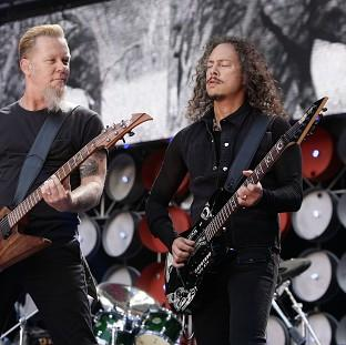 Hillingdon Times: Metallica stars James Hetfield, left, and Kirk Hammett will be on stage for a Saturday headline set at Galstonbury