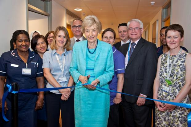 Cutting the ribbon: Baroness Cumberlege officially opens the new ward