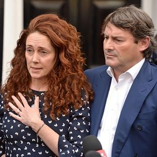Hillingdon Times: Rebekah Brooks and her husband Charlie Brooks make a statement outside their property in central London, following their acquittal in the hacking trial