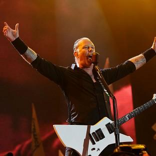Hillingdon Times: James Hetfield of Metallica performing on the Pyramid Stage at the Glastonbury Festival