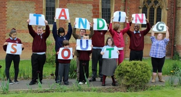 Outstanding: Pield Heath youngsters celebrating their Ofsted report earlier this year