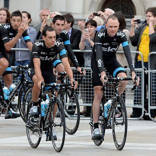 Team Sky's Richie Porte and Chris Froome during the team presentation at the Leeds Arena