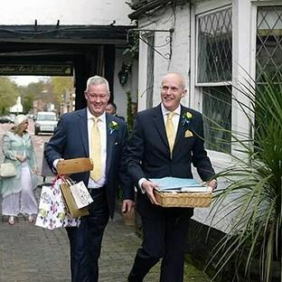 Jeremy Pemberton, left, tied the knot with Laurence Cunnington in April