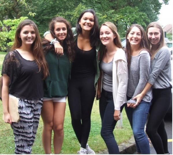 Achievers: St Helen's girls celebrate their A-level results