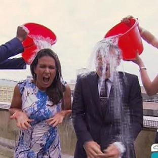 Good Morning Britain presenters Ben Shephard and Susanna Reid taking part in the Ice Bucket Challenge for charity (ITV/PA)
