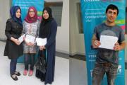 Centre left is Fariha Rehman who achieved the highest GCSE grades at Uxbridge College collecting her results with friends Mehrak Tariq (left) and Attiya Abbas. On the right is the College's second top performer, Azrat Bilal.