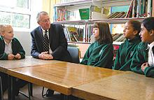 Hillingdon Times: Appointment: John Goulborn, head of Ruislip High Secondary School, meets some of his potential pupils