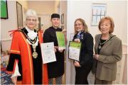 Honoured: (from left) the Mayor, Kirsty Stratford, nursery chef, Ann Mintern, nursery manager, and the Mayoress