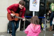 James Smith draws a young admirer in Uxbridge on Saturday