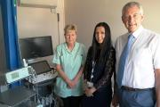 New procedure: our picture shows imaging assistant Christine Beckley, Dr Hughes and consultant Chris Kelley with the new equipment