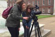 Uxbridge College students Hannah Windsor (left), age 19, and Ashleigh Clayton, 17,  filming footage for the short film 'John' at the Royal Chelsea Hospital.