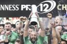 Connacht players celebrate with the PRO12 trophy