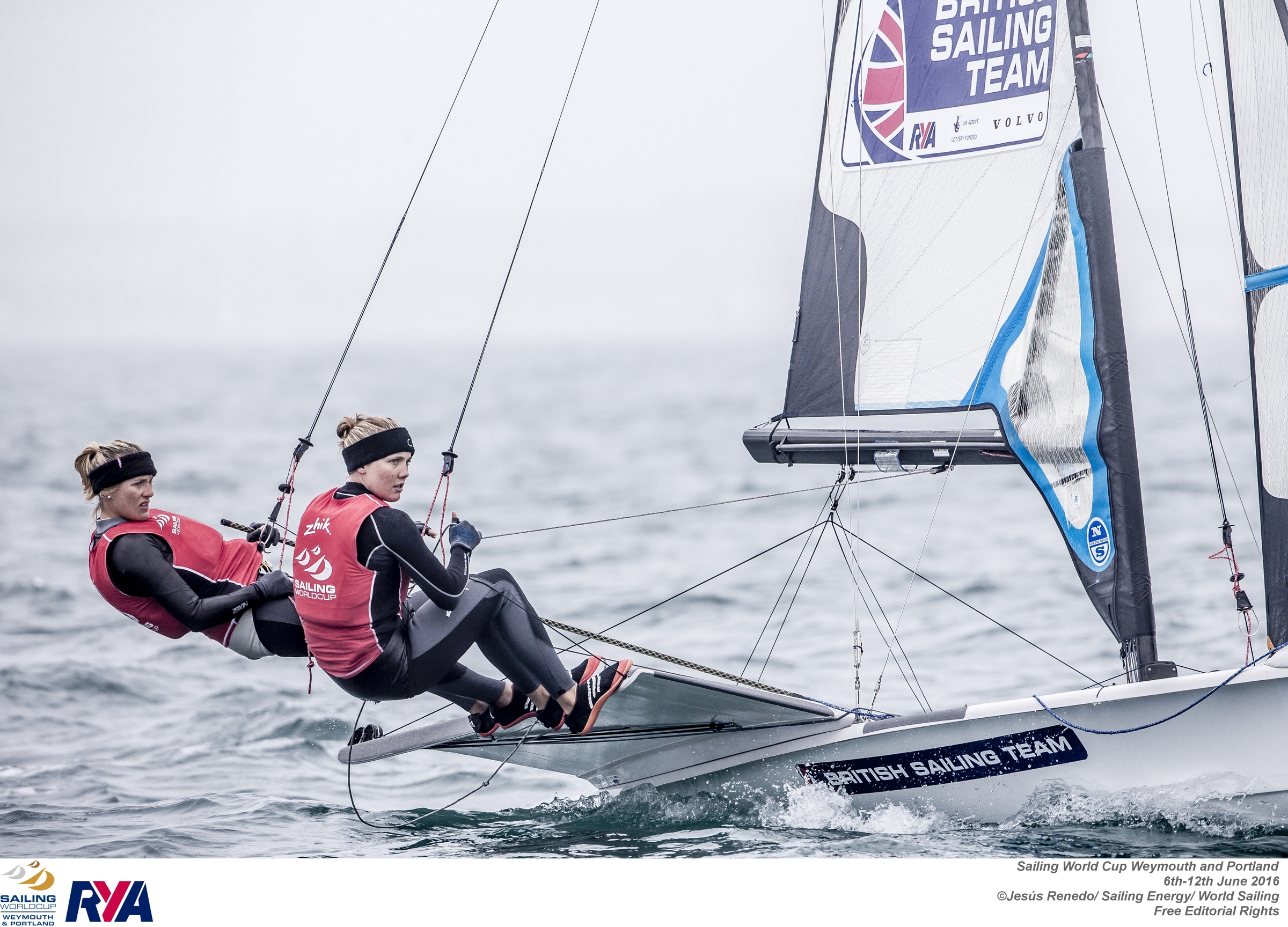 Sophie Ainsworth (right) is in the medal hunt after a strong day at the Sailing World Cup in Weymouth