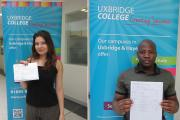 Margarita Popa and Lucien Mukendi were among Uxbridge College's top GCSE achievers in 2016