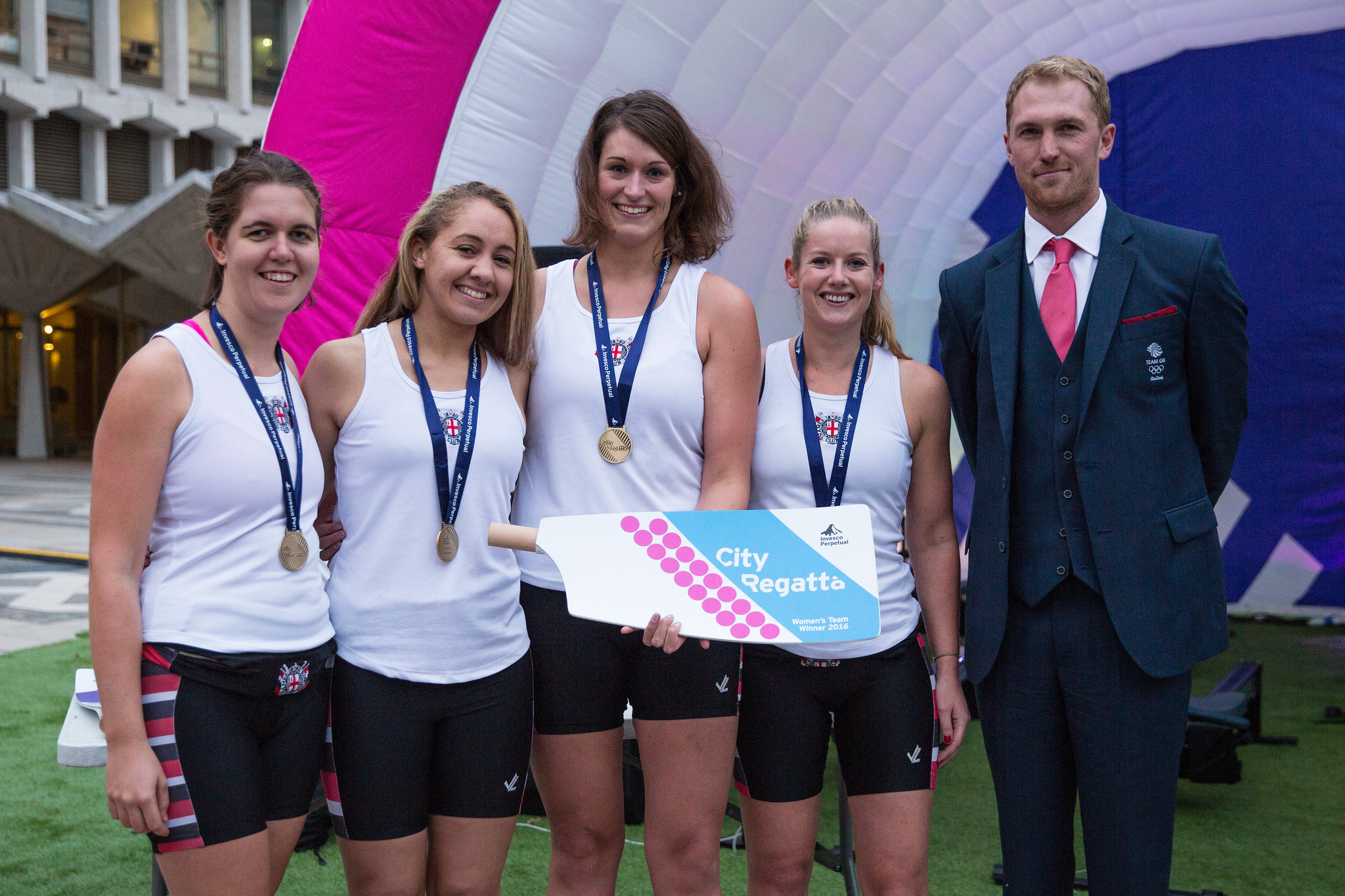 Marieke Bal (centre) and her winning team with double Olympic rowing champion Alex Gregory