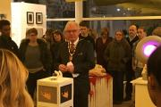 Mayor of Hillingdon Councillor John Hensley opens the Capture exhibition by Uxbridge College students at The Old Vinyl Factory in Hayes.