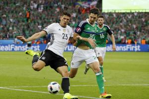 Craig Cathcart in action against Germany during Euro 2016. Picture: Action Images