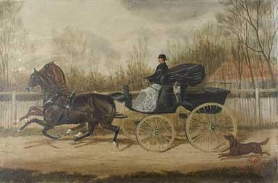 Unframed oil painting of W Marshall driving a horse drawn carriage, dated 1883. W Marshall was the innkeeper of the Railway Arms in Vine Street. Originally a beer-house called The Swan. It was renamed The Railway Hotel in 1856.