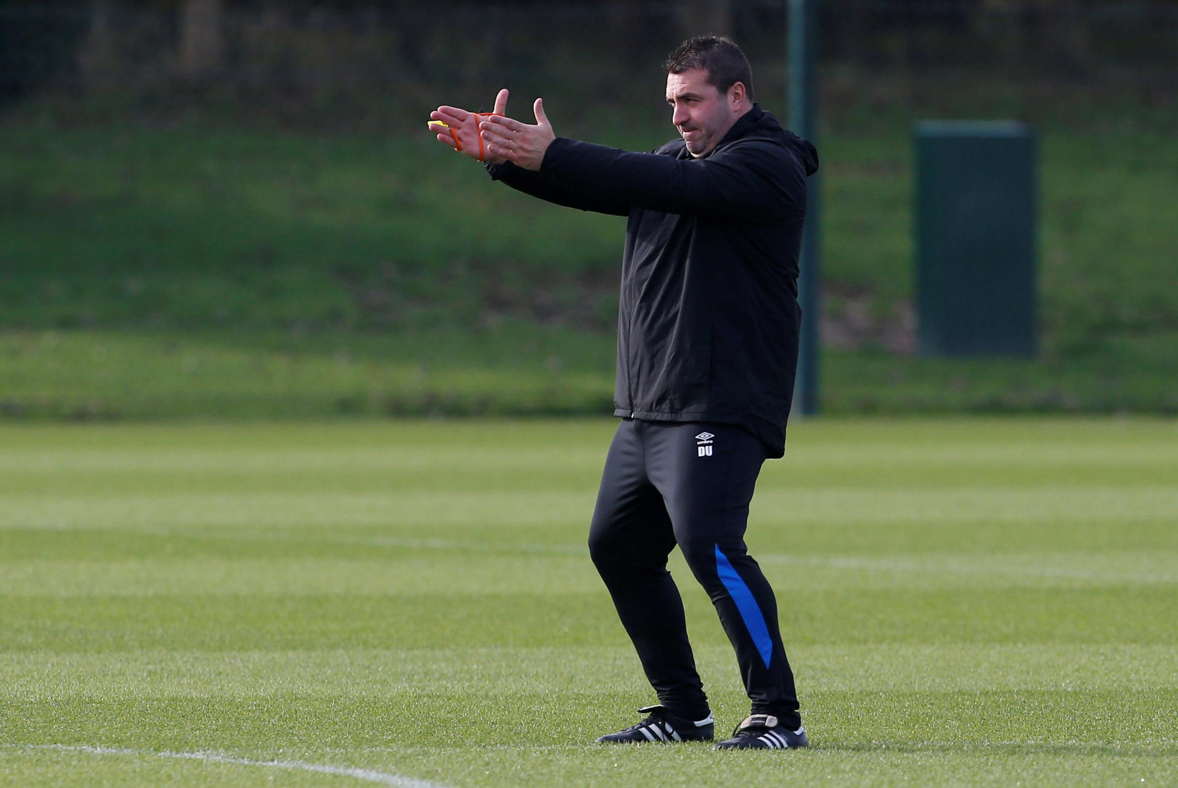 David Unsworth taking training ahead of Everton's Europa League game with Lyon tomorrow. Picture: Action Images
