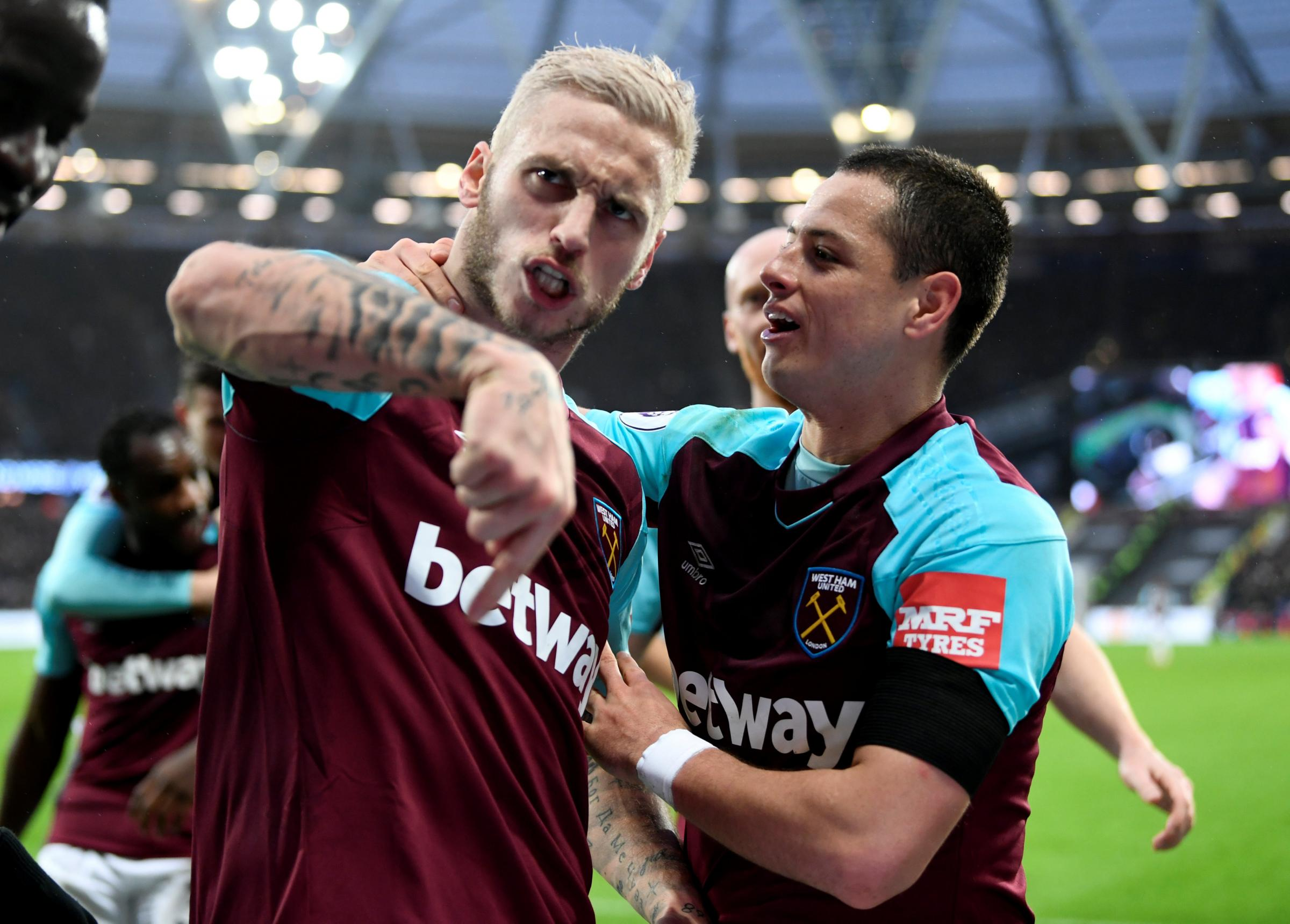 Marko Arnautovic and Javier Hernandez scored the goals as Dodi Lukebakio tasted defeat on his Watford debut. Picture: Action Images