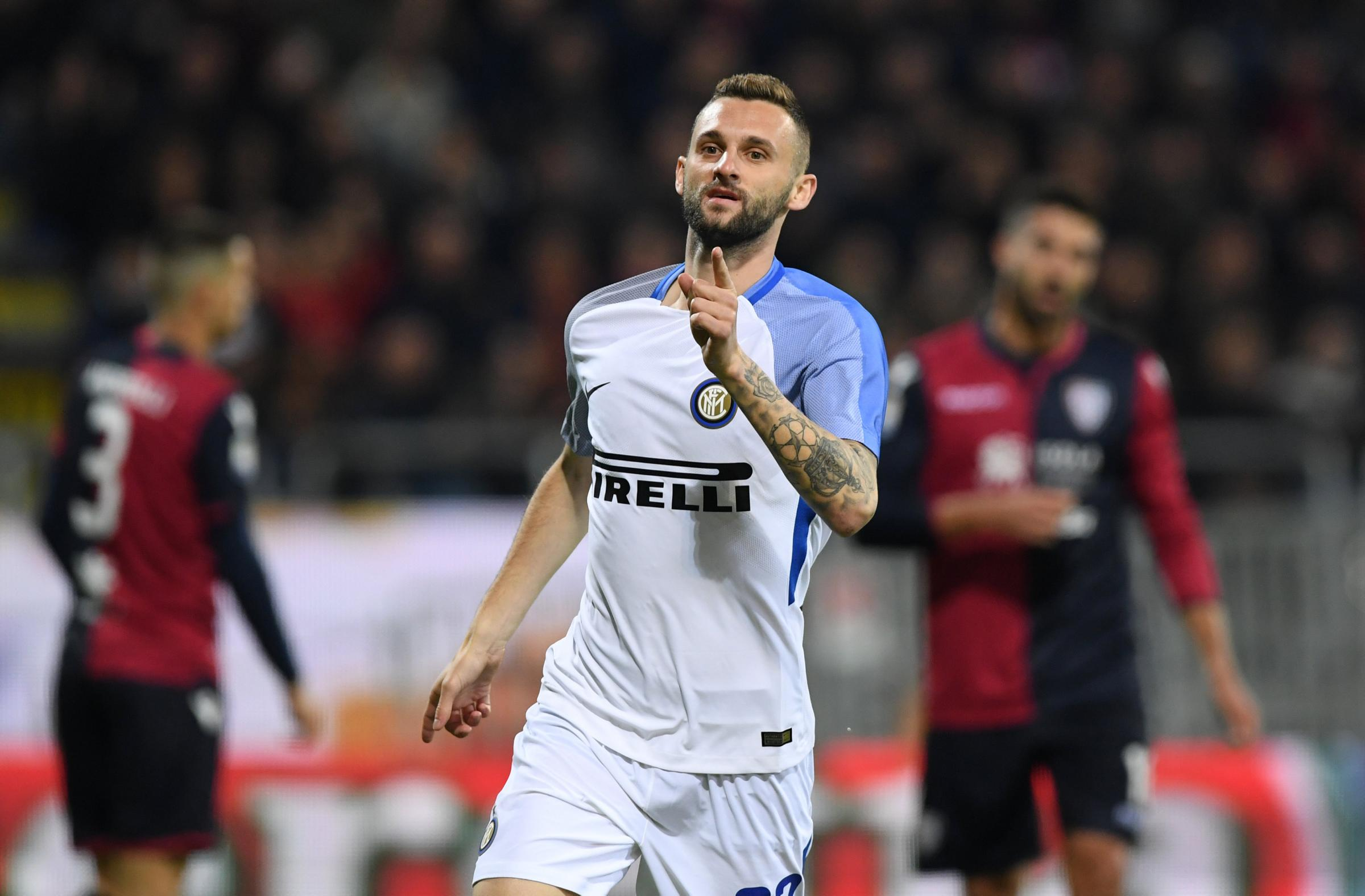 Marcelo Brozovic celebrates scoring one of his three goals this season. Picture: Action Images