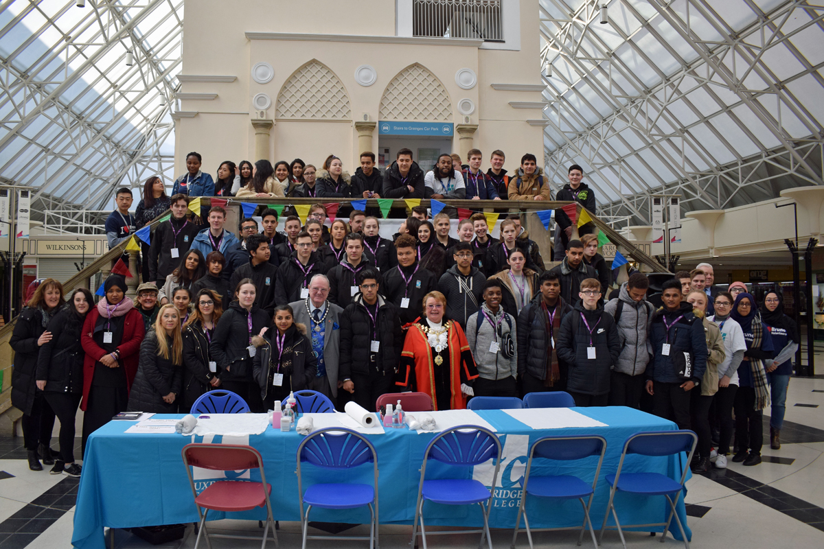 Uxbridge College and Brunel University London joined forces with The Pavilions Uxbridge, Uxbridge Forward and INTU Uxbridge for Good Deeds Day 2018, with special guests the Mayor of Hillingdon Cllr Carol Melvin and her Consort Andrew.
