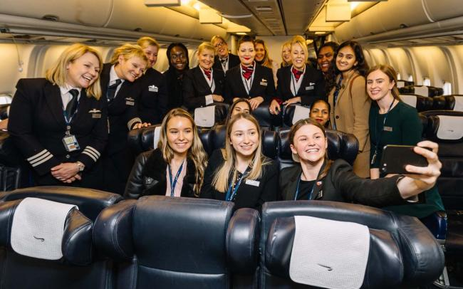 Uxbridge College Travel & Tourism student Chelsia Afonso, 18 (behind the passenger taking the selfie) was part a special all-female BA flight to mark International Womens' Day on March 8.