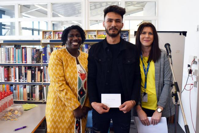 Photo caption: Murtaza Ahmadi, winner of 'Best Reviews Overall' Award is pictured with bestselling author Dorothy Koomson (left) and Shelley Cawley, Learning Resources Manager at Uxbridge College.