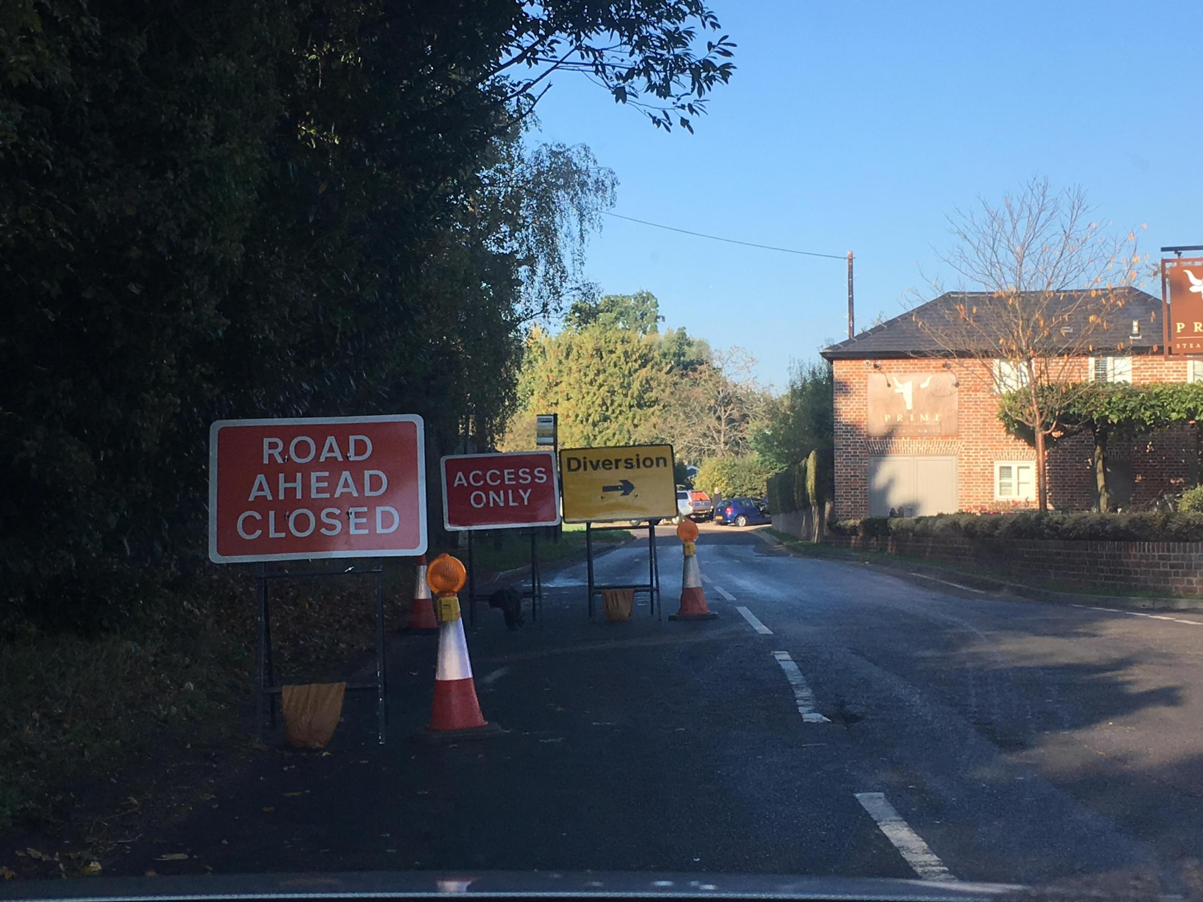 The closure at the junction of Chandlers Lane