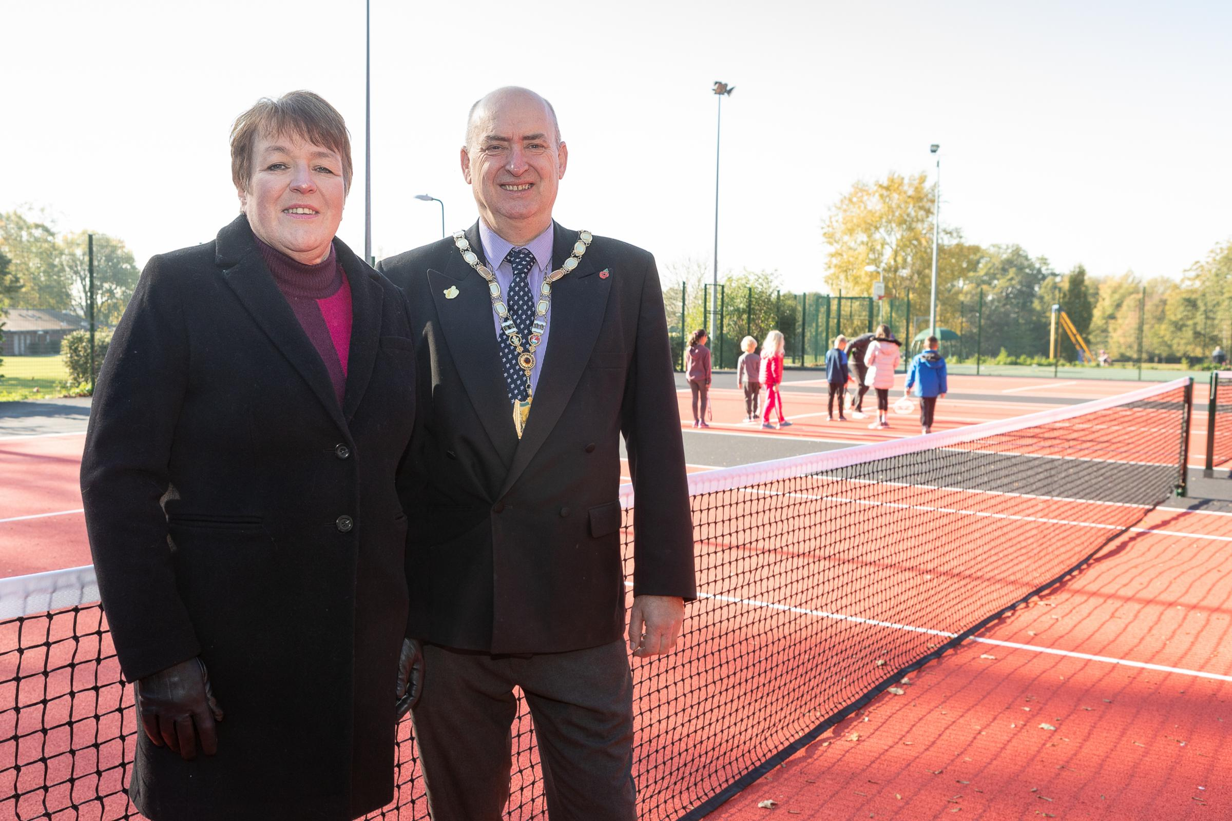 Leader of TRDC Cllr Sara Bedford pictured with chairman of TRDC Cllr Phill Williams at the new courts